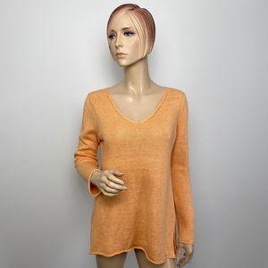 Eileen Fisher Orange V-neck Pullover Small